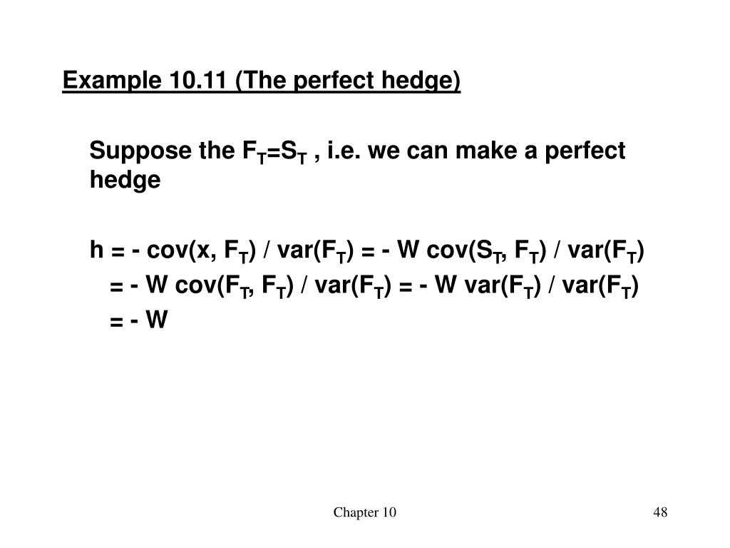 Example 10.11 (The perfect hedge)