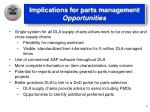 implications for parts management opportunities