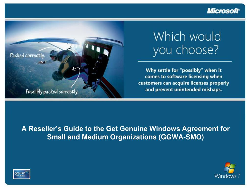 a reseller s guide to the get genuine windows agreement for small and medium organizations ggwa smo