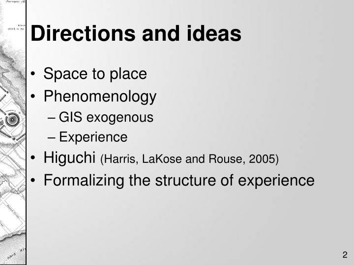 Directions and ideas
