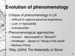 evolution of phenomenology
