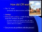 how did cr work