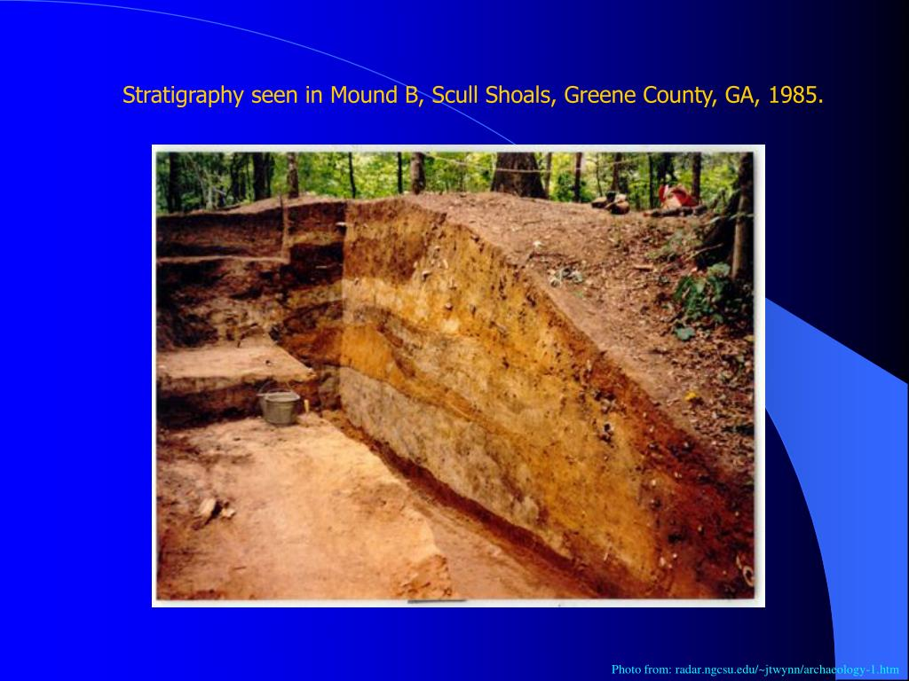 Stratigraphy seen in Mound B, Scull Shoals, Greene County, GA, 1985.