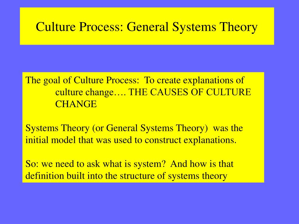 Culture Process: General Systems Theory