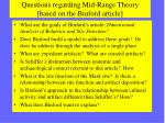 questions regarding mid range theory based on the binford article