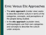emic versus etic approaches