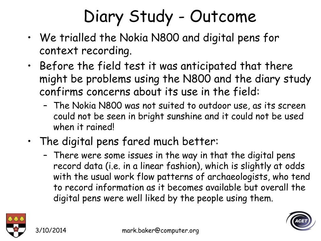 Diary Study - Outcome
