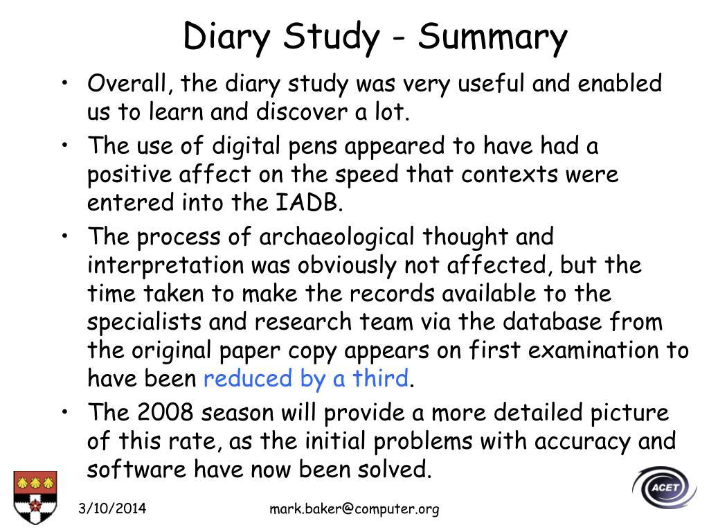 Diary Study - Summary
