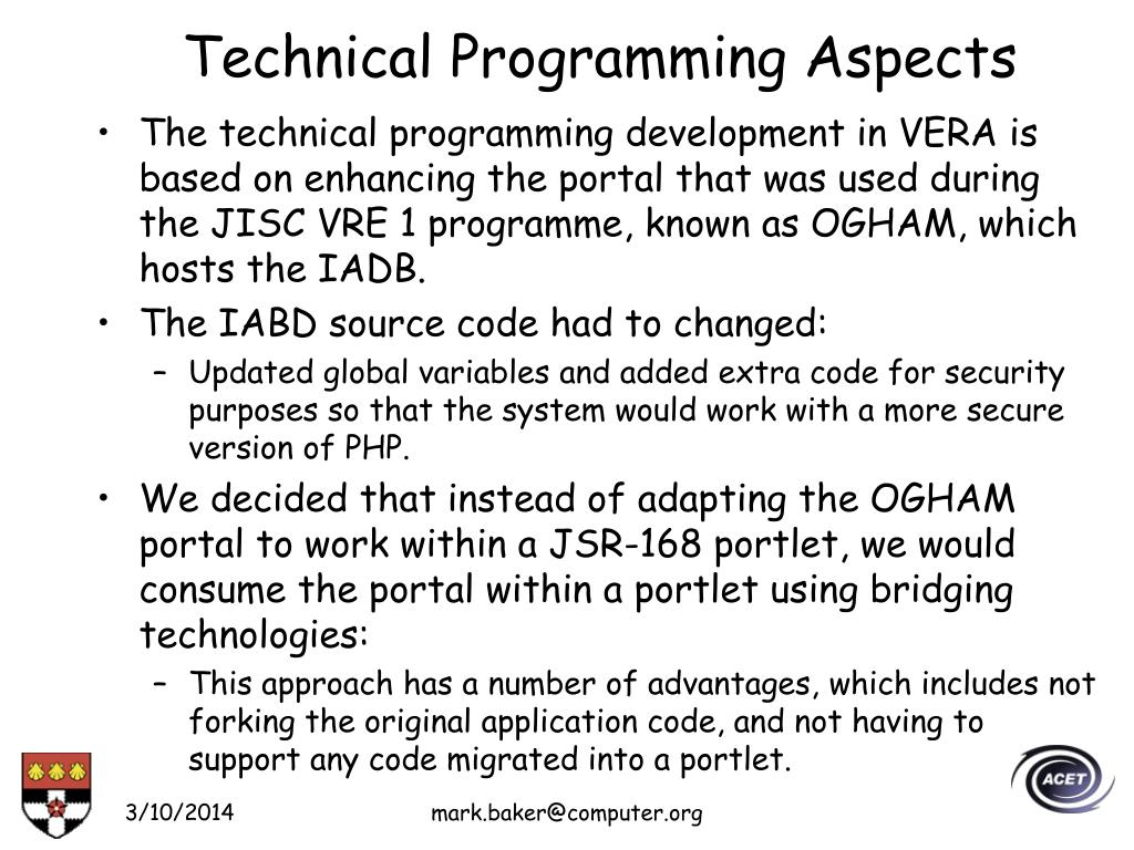 Technical Programming Aspects
