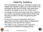 usability summary