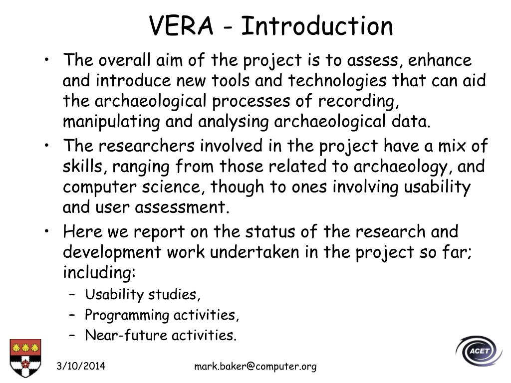 VERA - Introduction