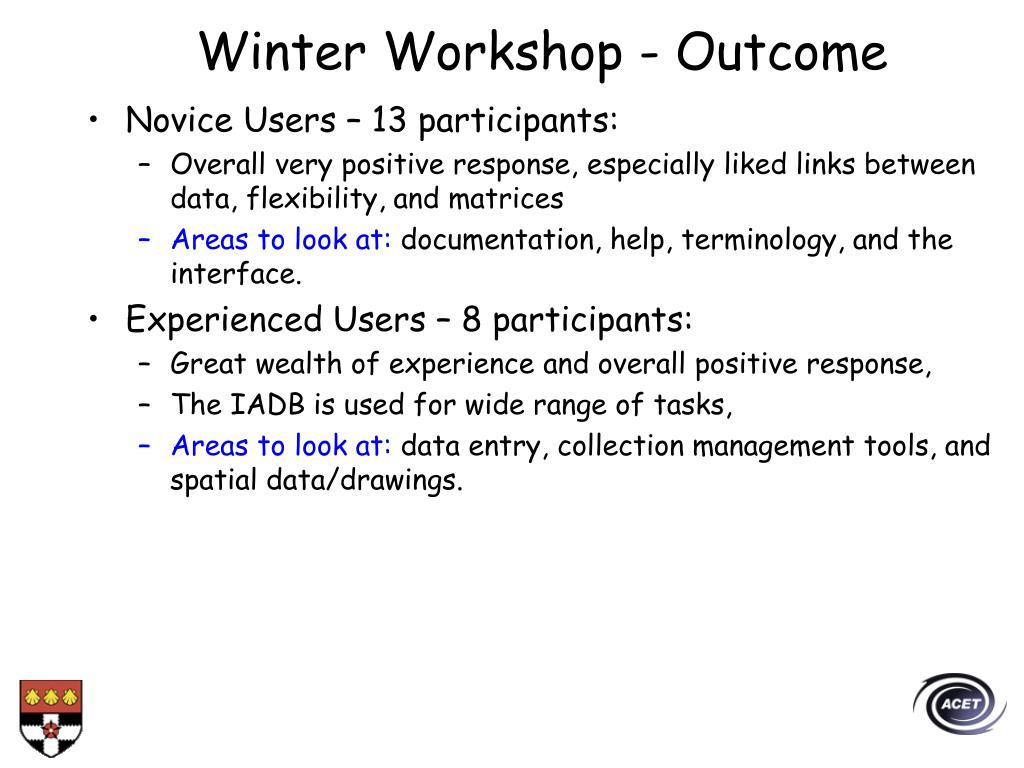 Winter Workshop - Outcome