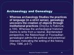 archaeology and genealogy