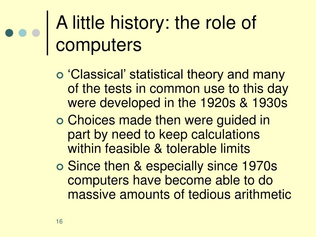 A little history: the role of computers
