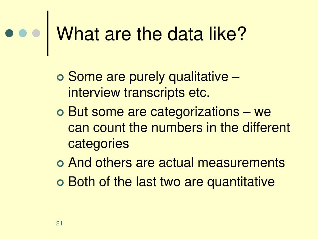 What are the data like?