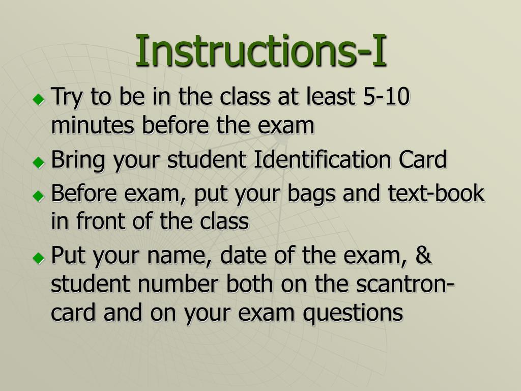 Instructions-I
