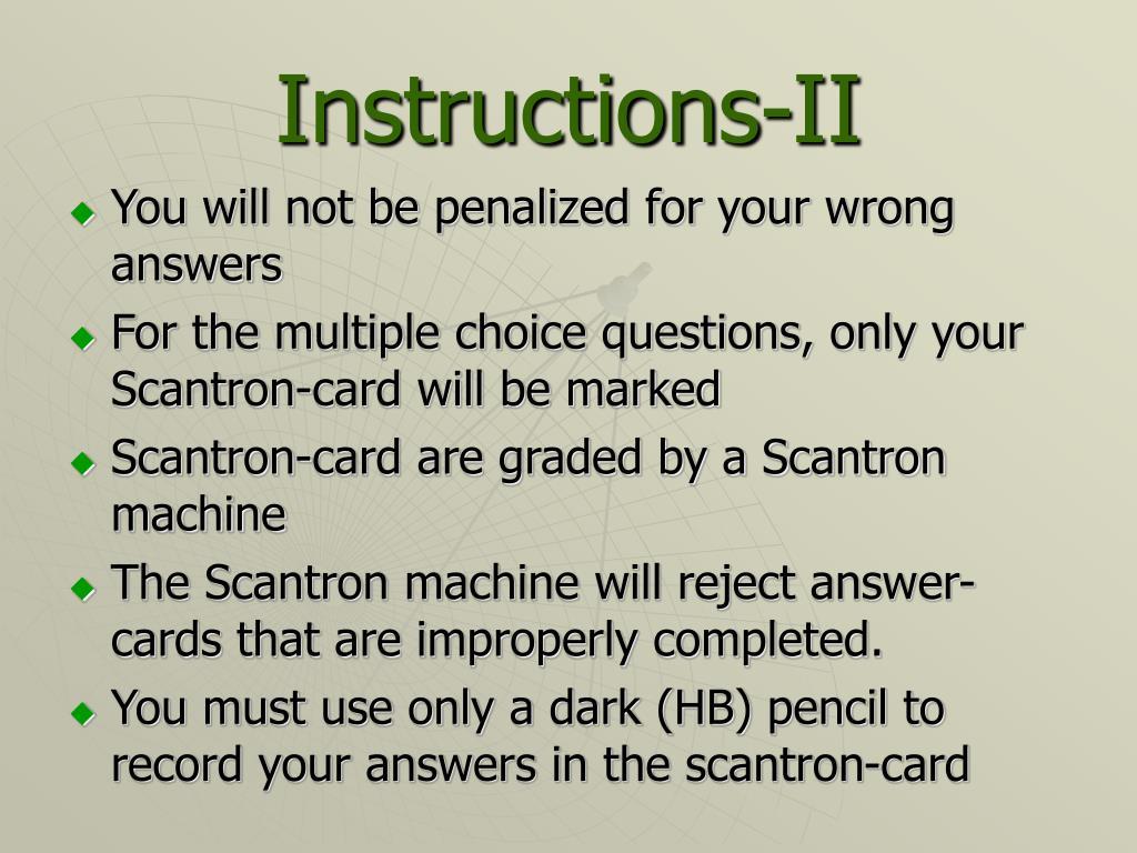 Instructions-II