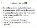 instructions iii