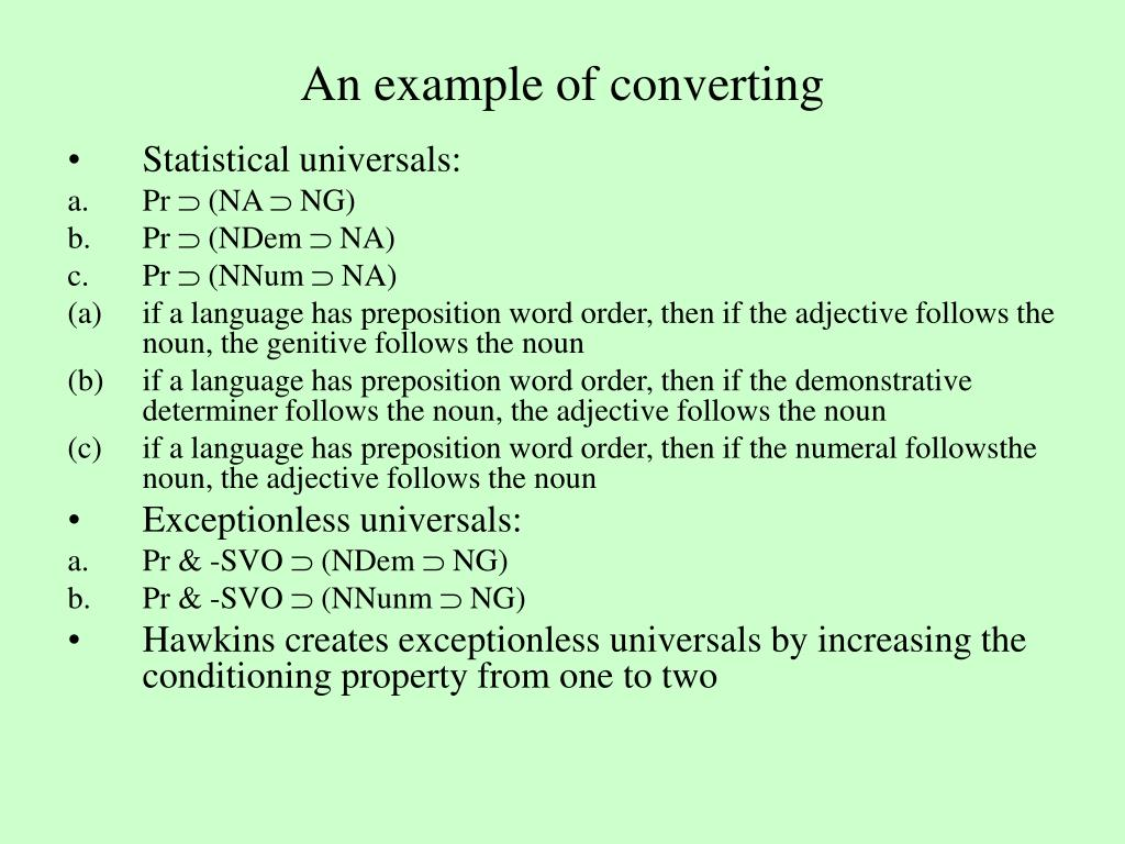 An example of converting
