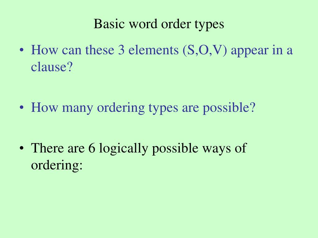 Basic word order types