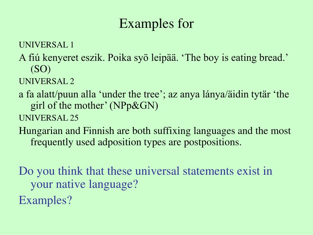 Examples for