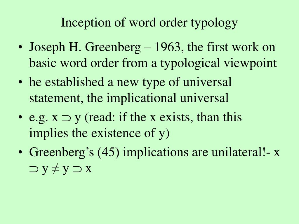 Inception of word order typology