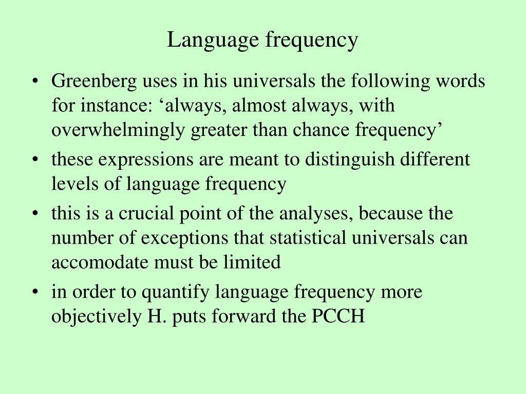 Language frequency