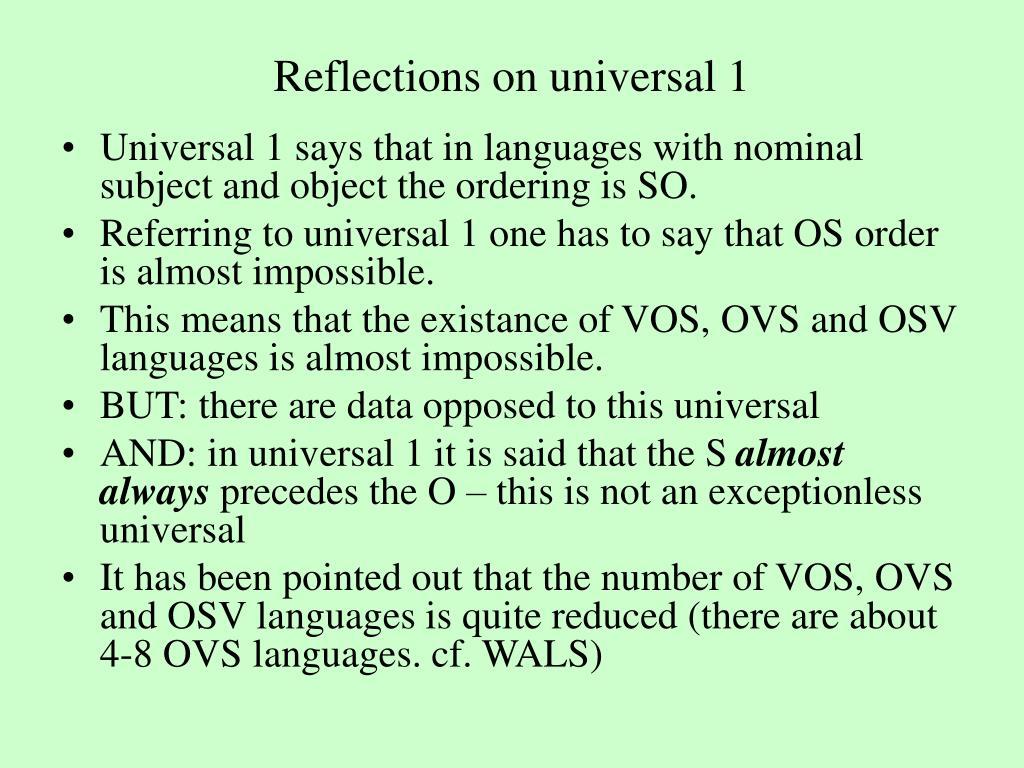 Reflections on universal 1