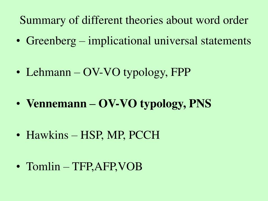 Summary of different theories about word order