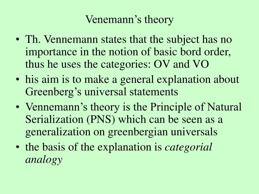 Venemann's theory