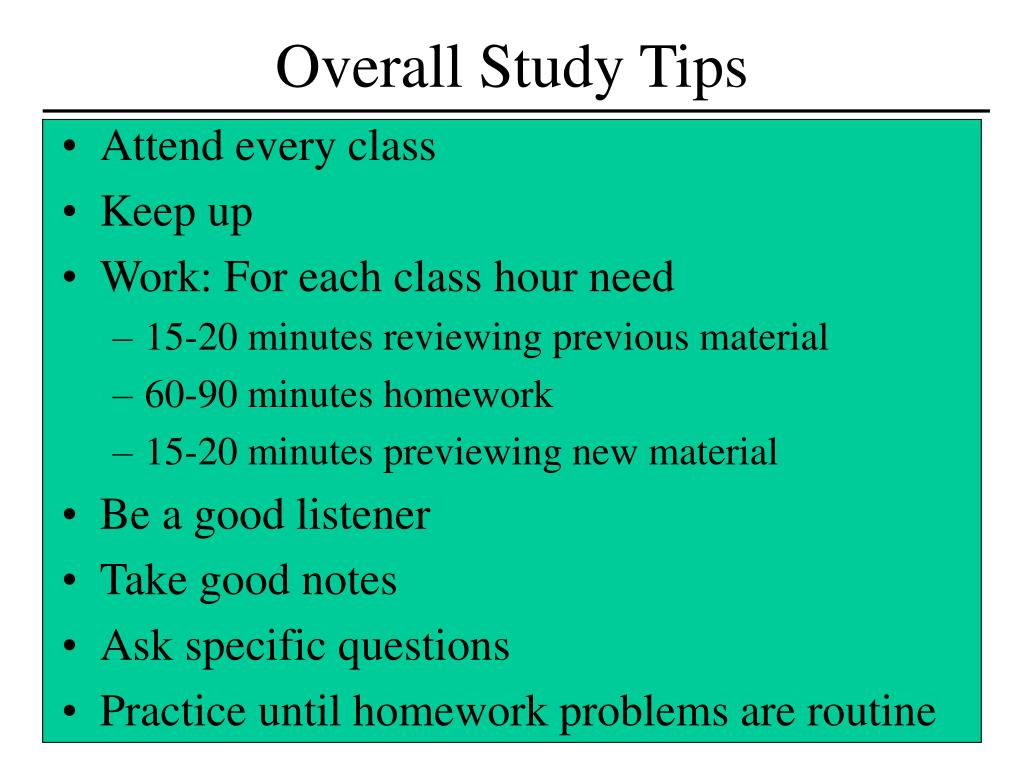 Overall Study Tips