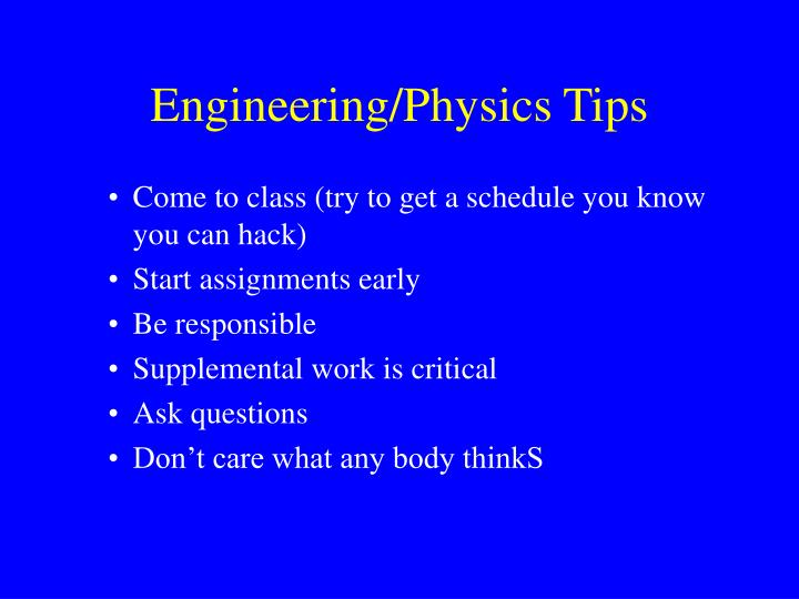 Engineering physics tips