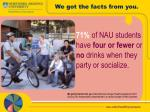 71 of nau students have four or fewer or no drinks when they party or socialize
