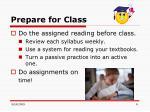 prepare for class