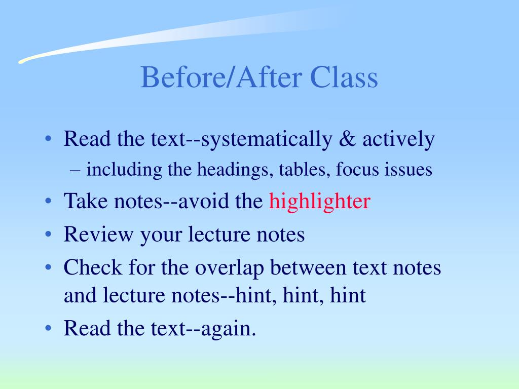 Before/After Class