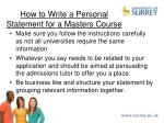 how to write a personal statement for a masters course