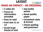 layout make an impact be original