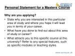 personal statement for a masters course