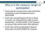 who is in the measure length of participation