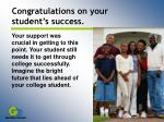 congratulations on your student s success