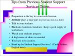 tips from previous student support services tutors