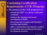 continuing certification requirements ccr program