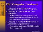 pdu categories continued