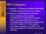 pdu categories
