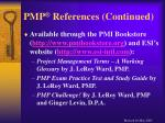 pmp references continued
