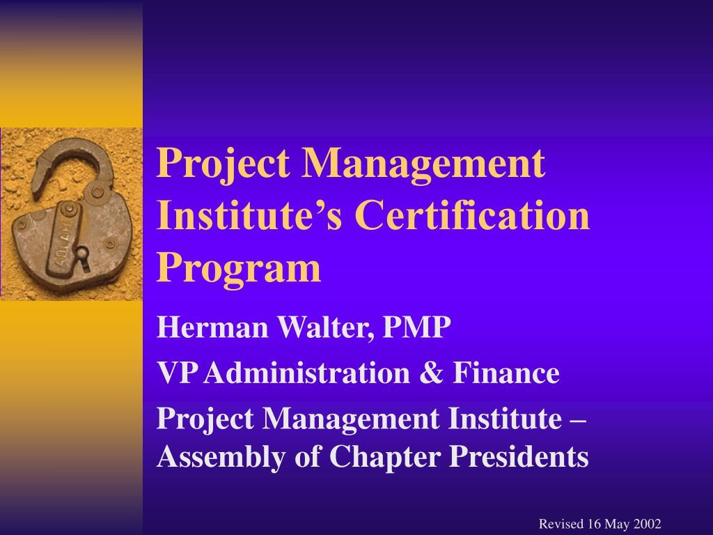 project management institute s certification program l.