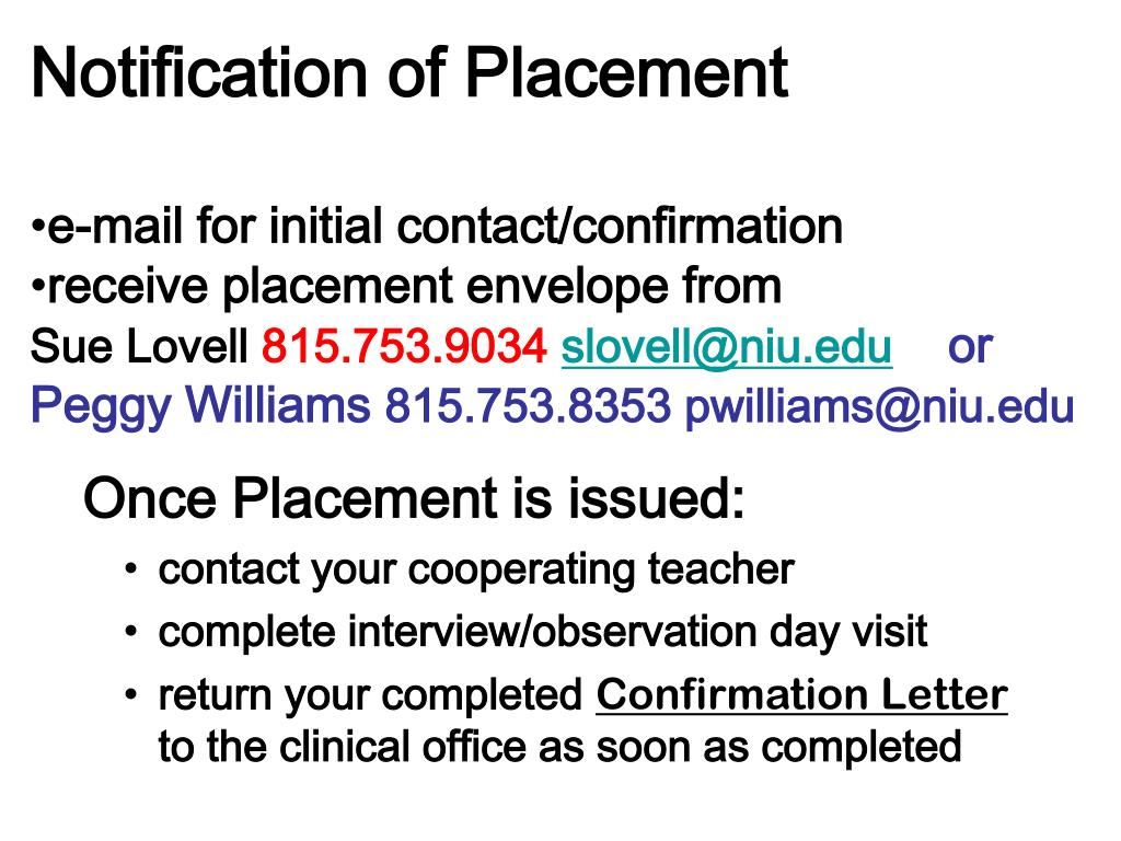Notification of Placement