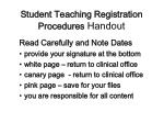 student teaching registration procedures handout