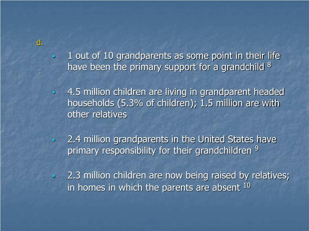 1 out of 10 grandparents as some point in their life have been the primary support for a grandchild