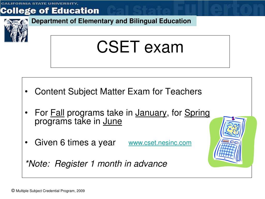 Content Subject Matter Exam for Teachers